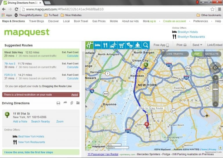 Map in Scheduling Manager software showing directions. Mapping capabilities