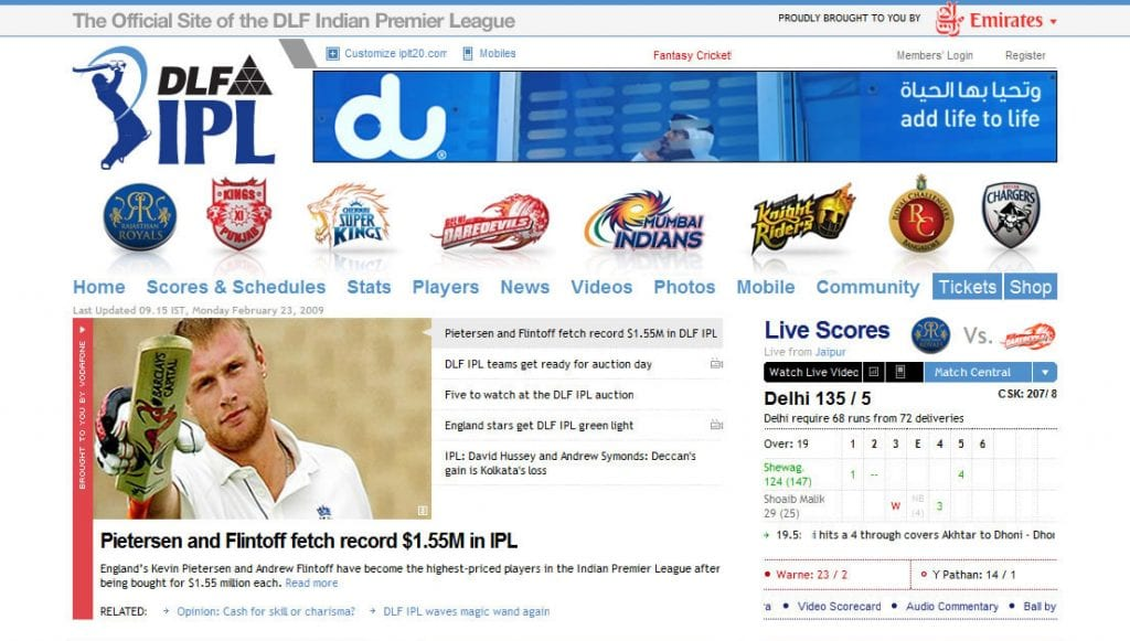 Sport Web Design Brisbane - Indian Premier League