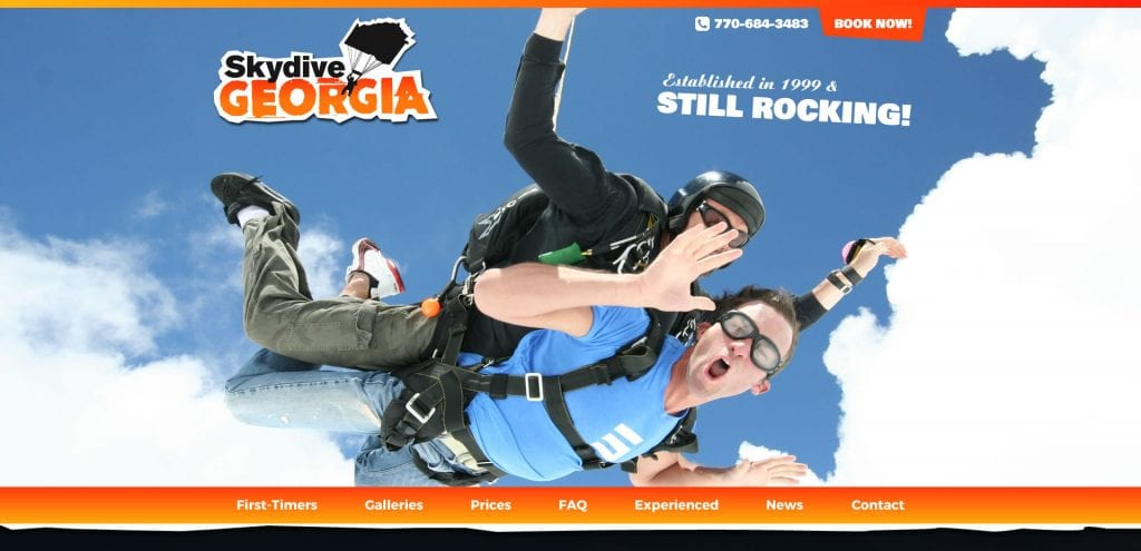 Skydive Georgia - Freelance Web Design Brisbane